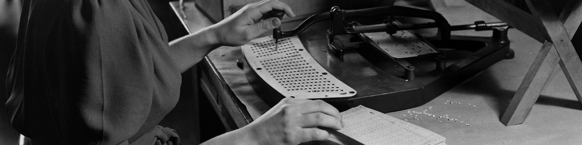 Bureaucracy, punch card machine operated by woman