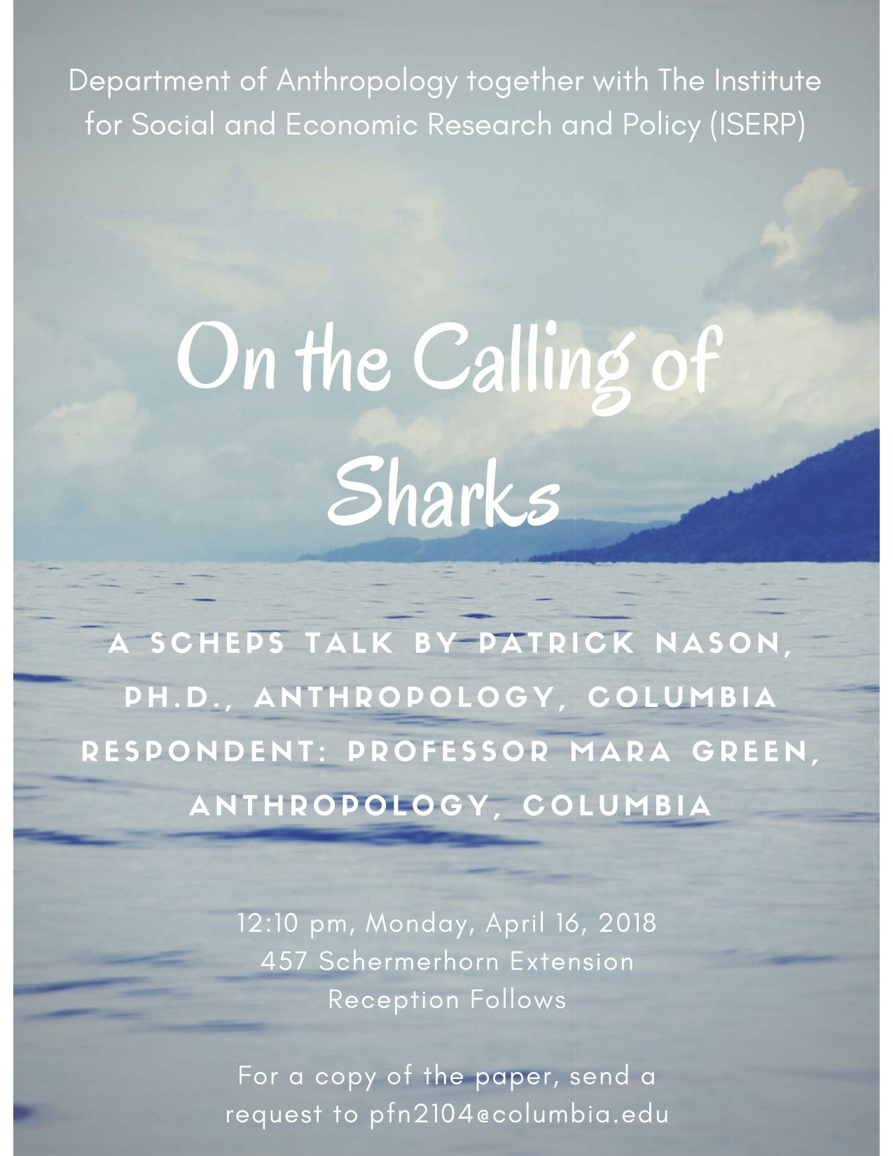"Event Poster for Patrick Nason's ""On the Calling of Sharks"""