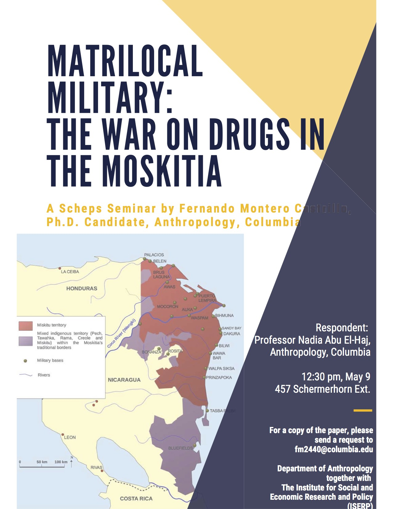 "Event poster for Fernando Montero Castillo's ""Matrilocal Military: The War on Drugs in the Moskitia"""