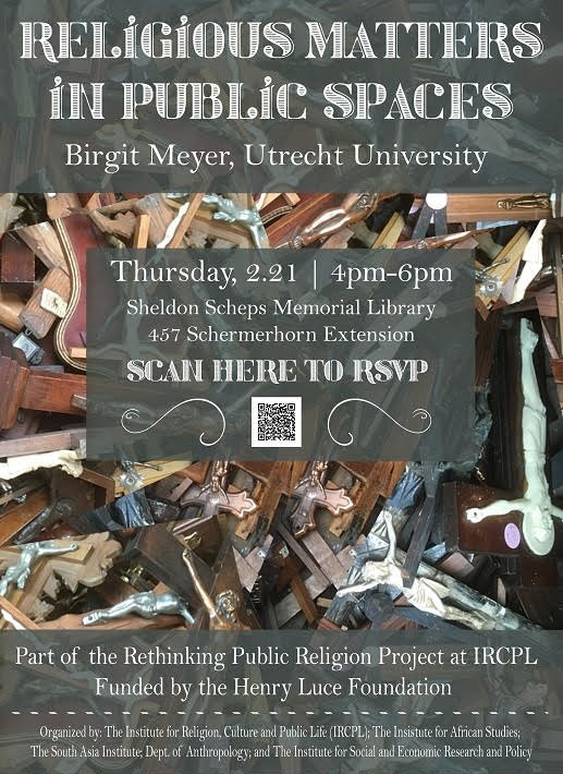 "Event poster for Birgit Meyer's ""Religious Matters in Public Spaces"""