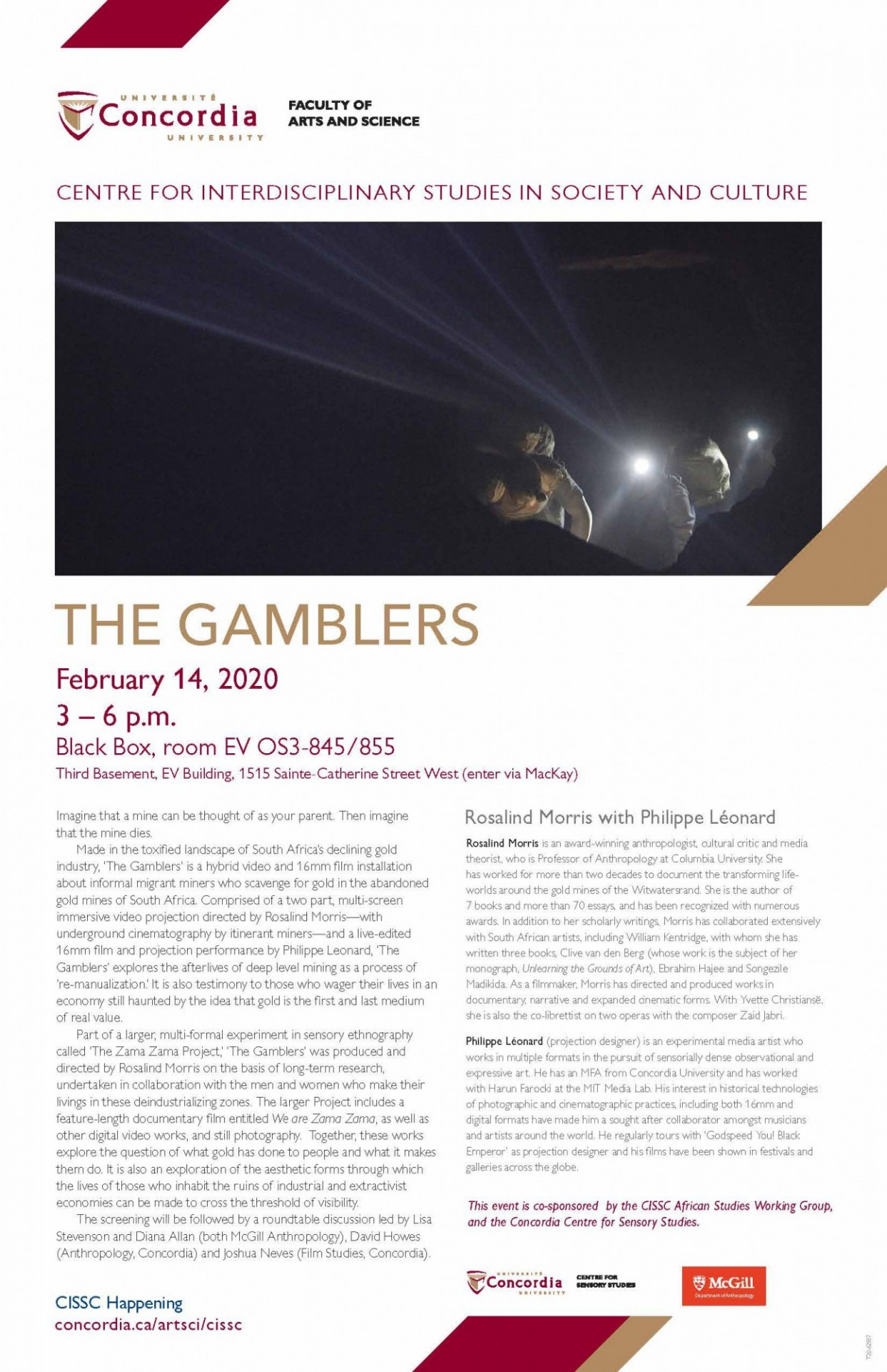 Poster for 'The Gamblers' featuring text about the project and an image from the film.