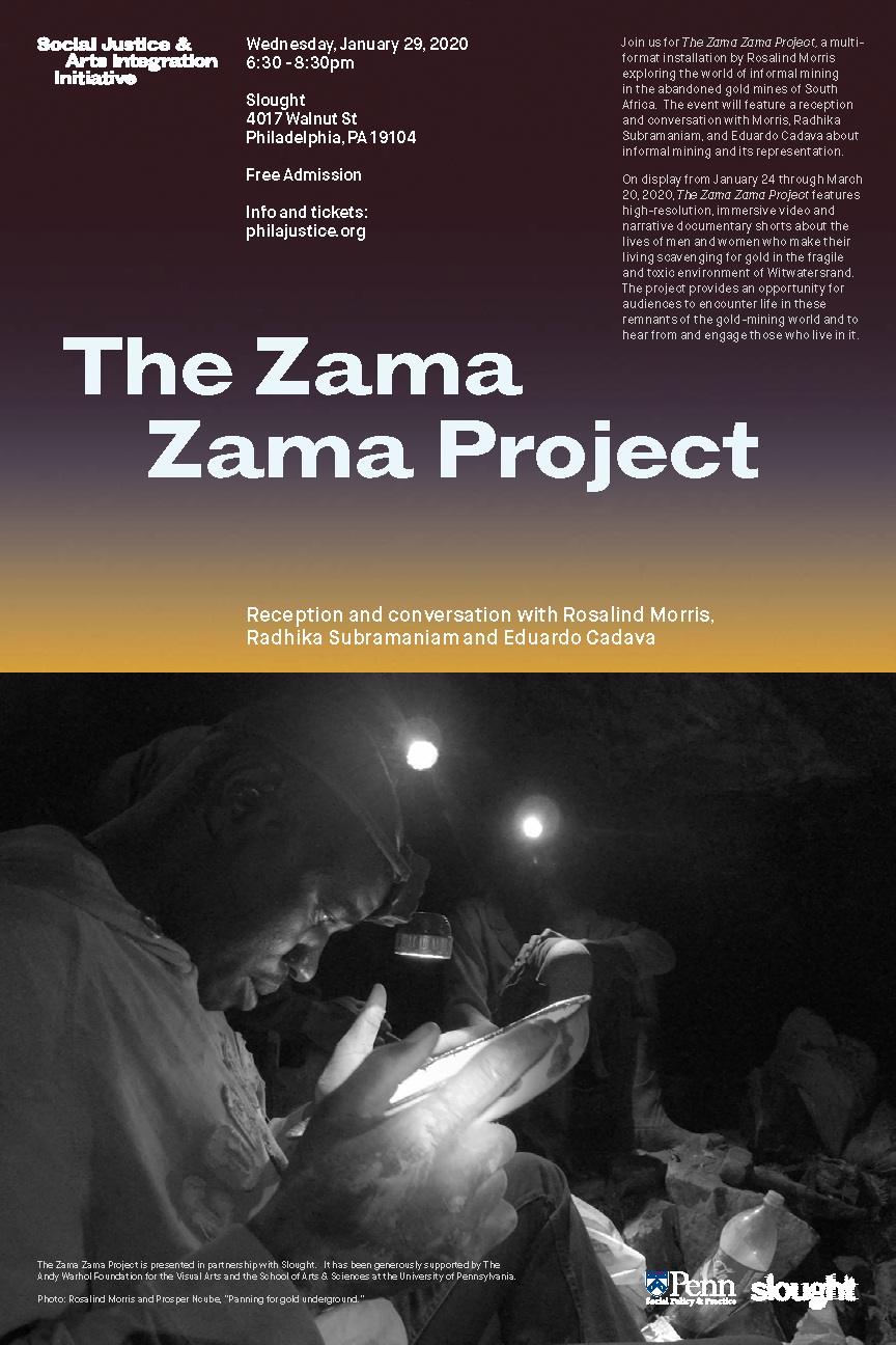 Poster for 'The Zama Zama Project' featuring text and image from the film.