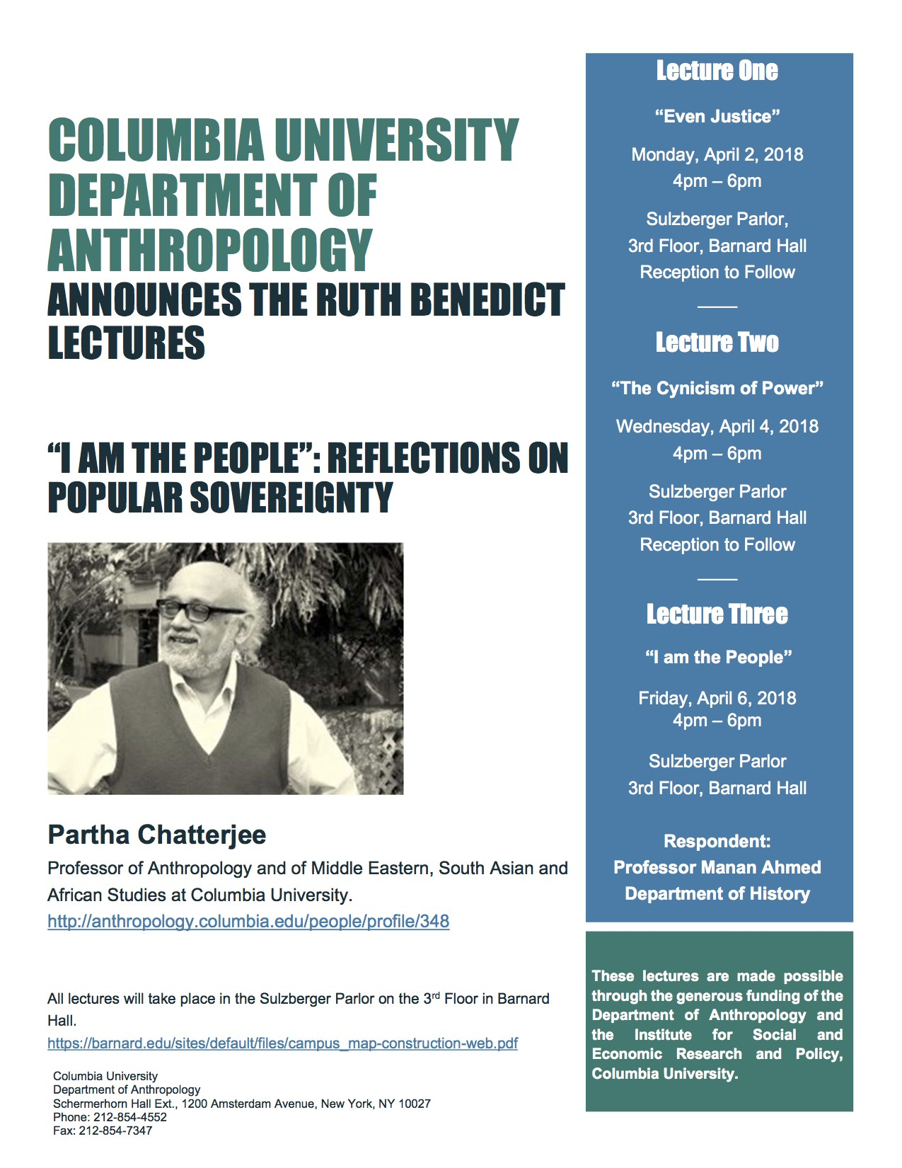 "Event Poster for Partha Chatterjee's ""I Am the People"": Reflections on Popular Sovereignty"