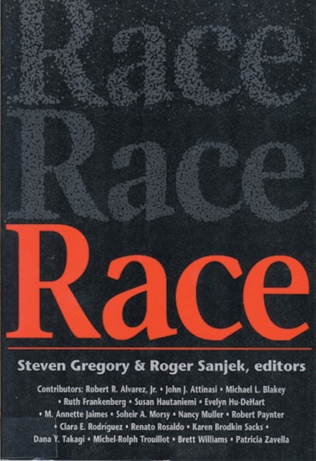 "Book cover depicting the word ""race"" in various styles."