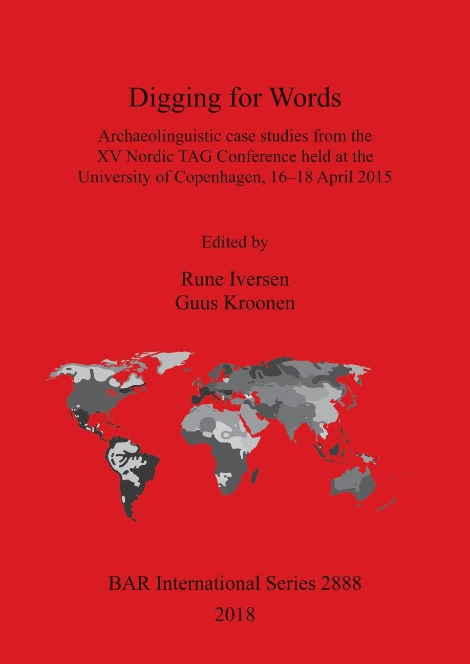 Book cover showing a red background with a black and grey map of the contents.
